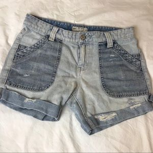 Free People Rugged Ripped Denim Boyfriend Shorts